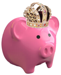 Pink piggybank with a gold crown