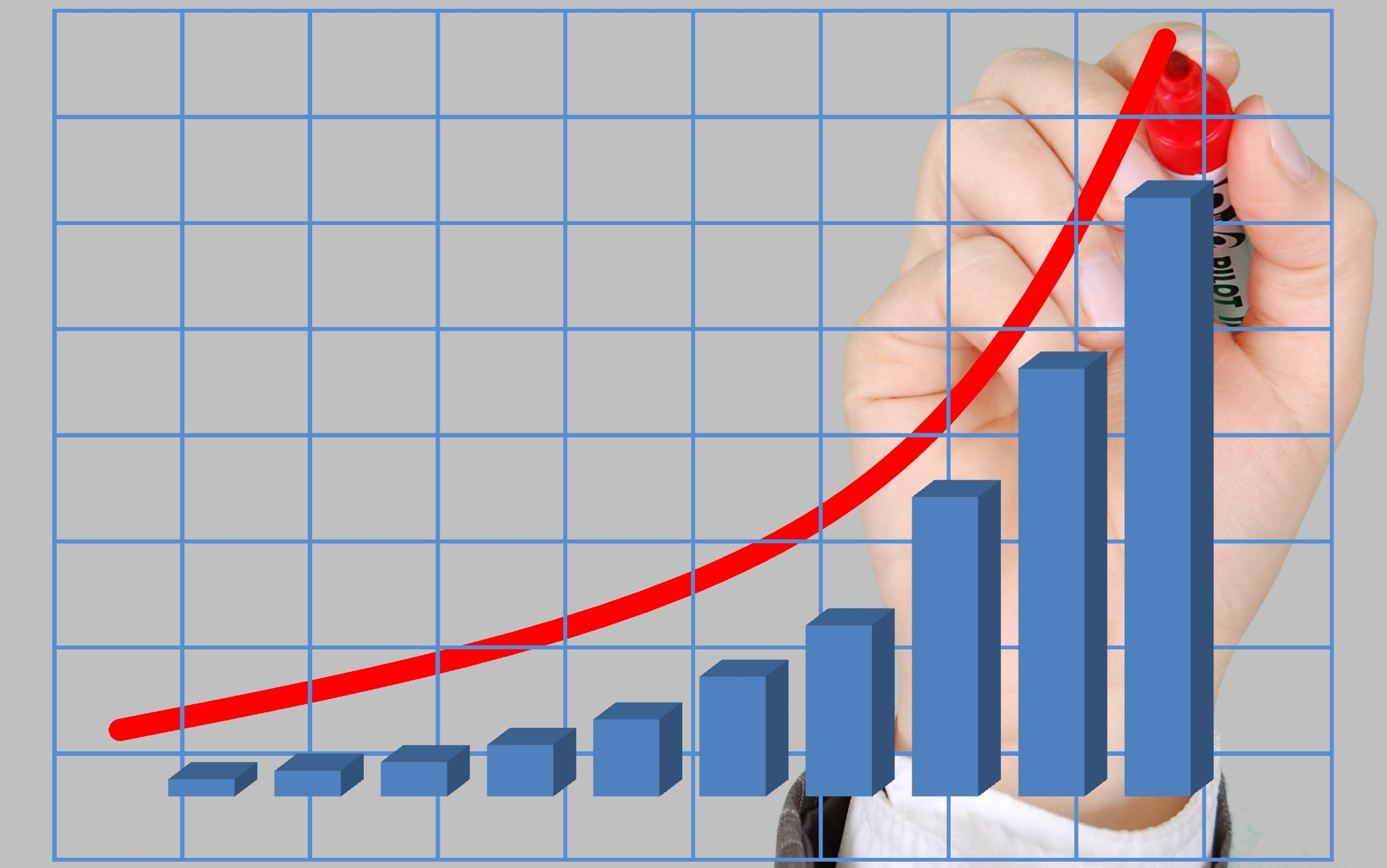 Graph with blue columns with a man holding a red marker drawing a red line up on the Pro Tax & Accounting Payroll Services page