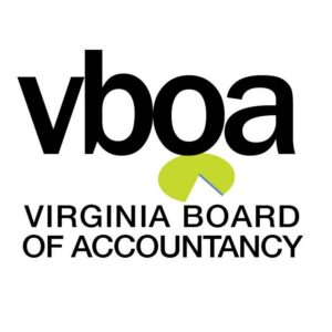 Virginia Board of Accountancy black and green logo on the Pro Tax & Accounting Why you need a CPA page