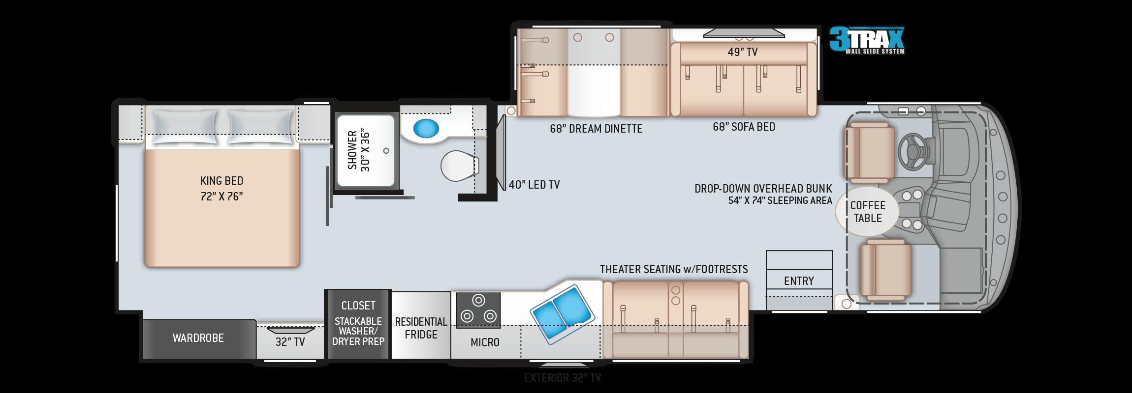 Floorplan of a 34R Windsport RV Rental
