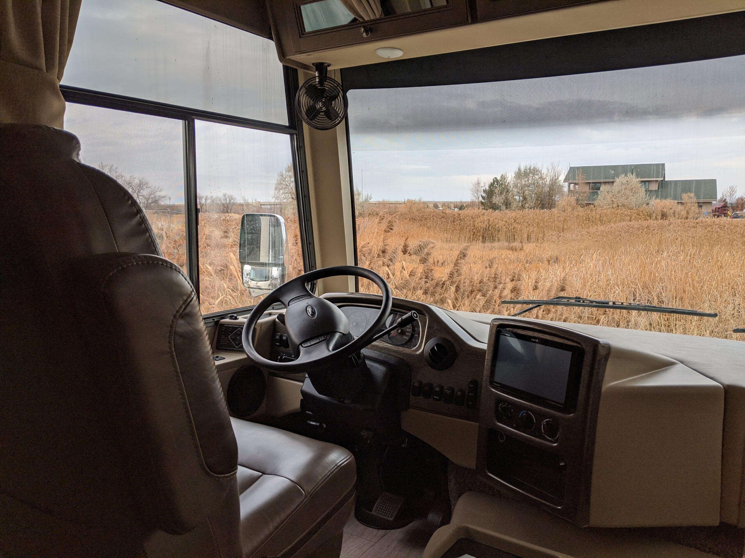 Driver's seat of a 34R Windsport RV Rental