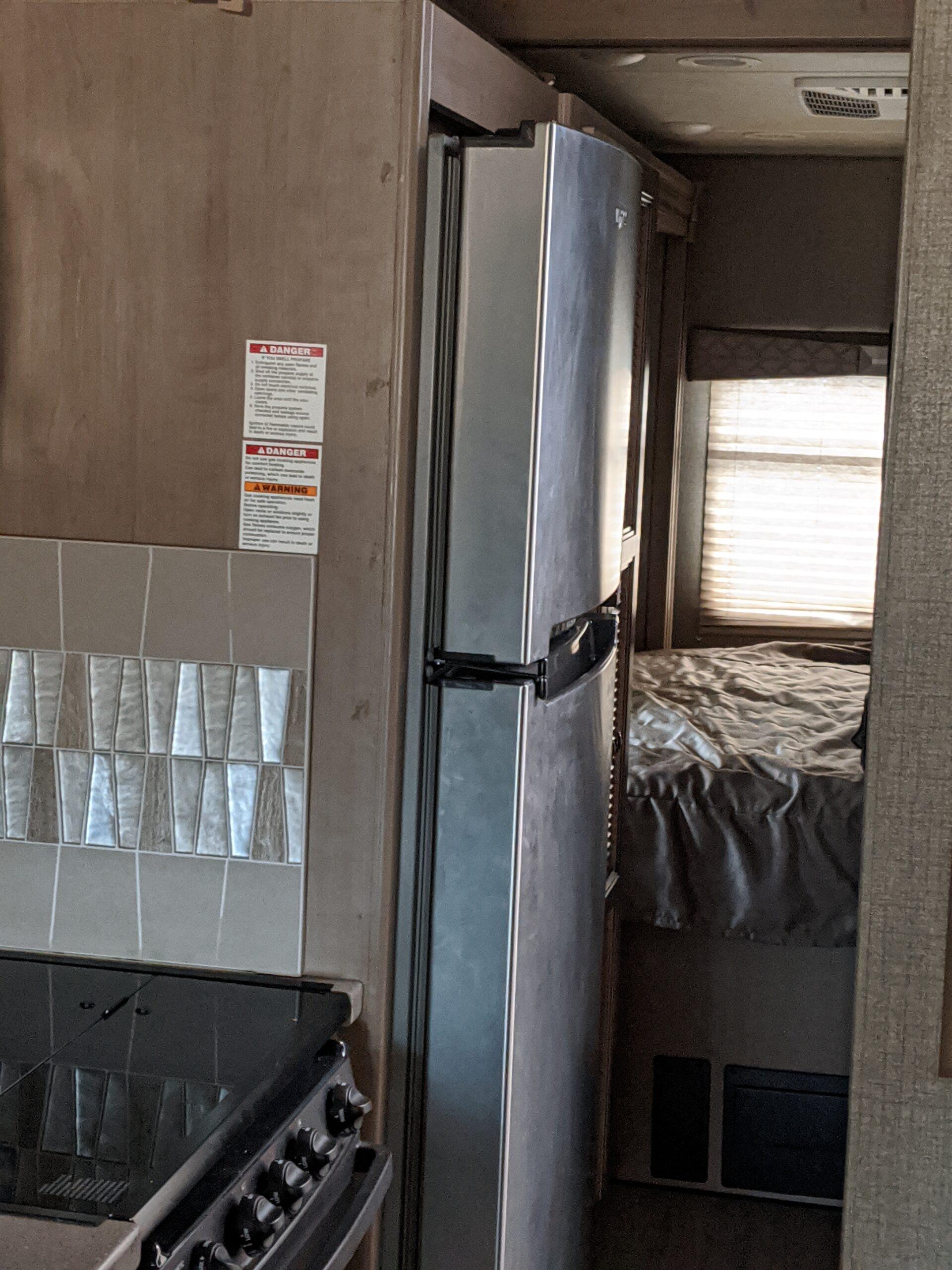 View of a 34R Windsport RV Rental refrigerator