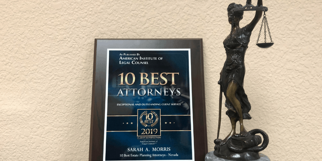 Sarah Morris Recognized by the American Institute Of Legal Counsel as a 2019 10 Best Legal Counsel for Client Satisfaction in Estate Planning