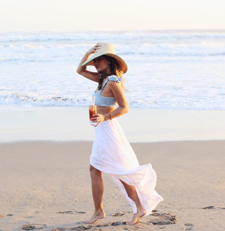 marianna hewitt travel blog beach white skirt crop top sunset w hotel bali seminyak
