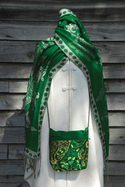 Green shawl and purse