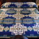 Alpaca Blanket - Blue/White Camelid Eye