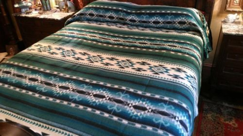 Alpaca Blanket - Green/Black/White Geometric