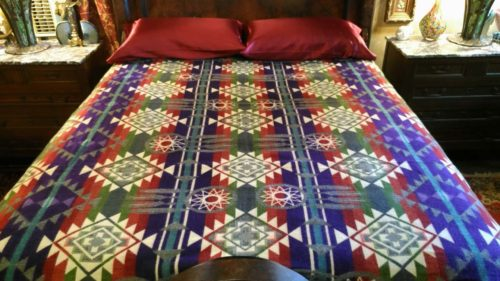 Alpaca Blanket Red Green Purple Dreamcatcher