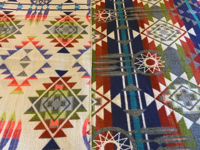 Blue Dreamcatcher Alpaca Blanket detail 2-sided