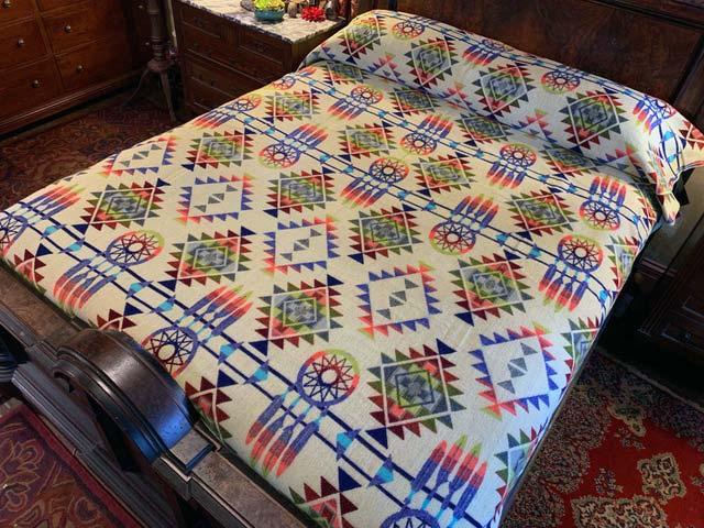 Blue Dreamcatcher Alpaca Blanket reverse