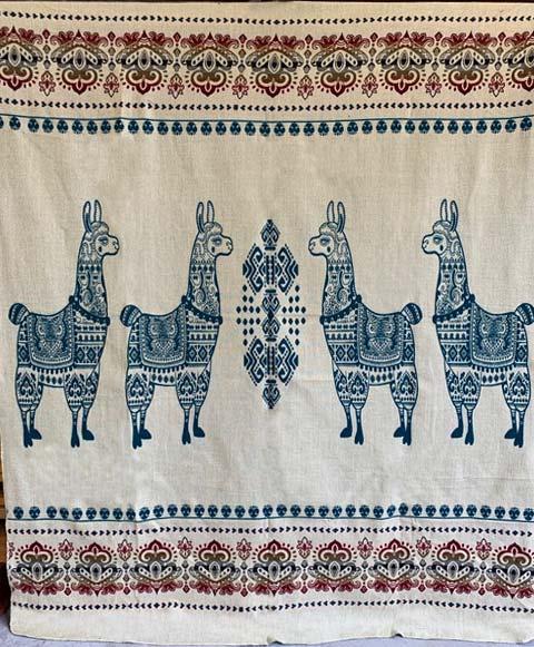 Llama blanket teal reverse detail