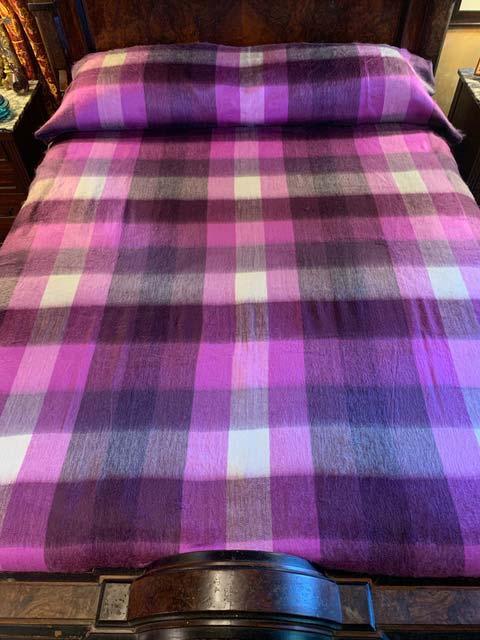 Pink Passion plaid alpaca blanket