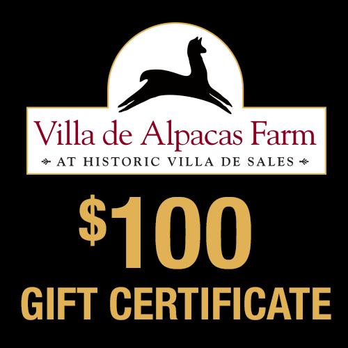 Villa De Alpacas Farm $100 Gift Certificate