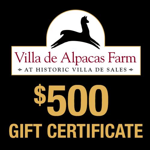 Villa De Alpacas Farm $500 Gift Certificate