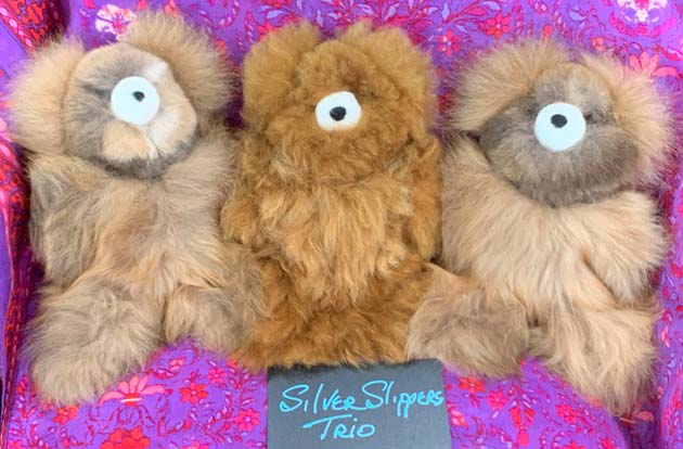Alpaca bears Silver Slippers Trio (sold individually)