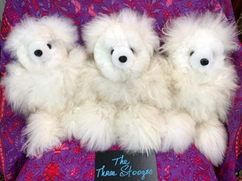 Alpaca bears Three Stooges (sold individually)