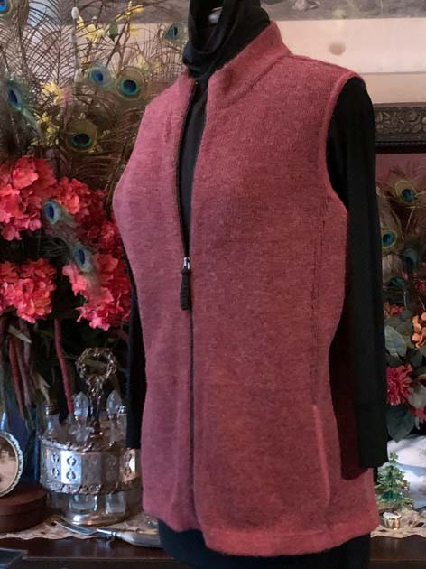Women's Heathered Rose Alpaca Vest