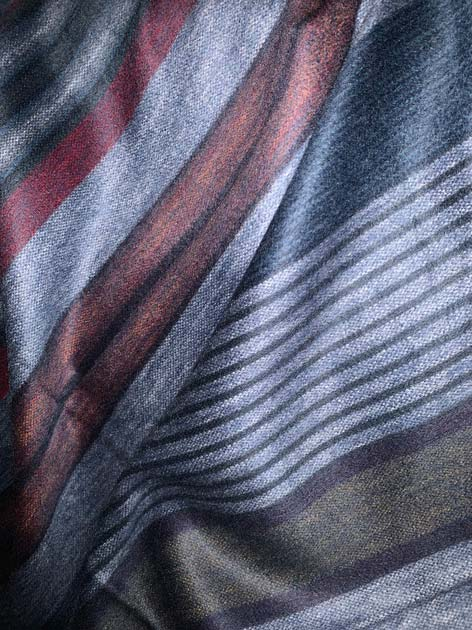Blue and Earth Toned Striped Alpaca Throw
