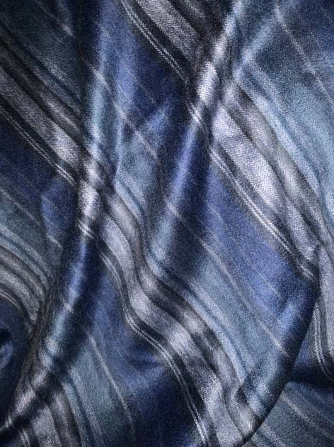 Blue and Silver Stripes Alpaca Throw