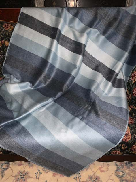 Runde Dark Grey Bluish Grey and Cream Stripes Alpaca Throw