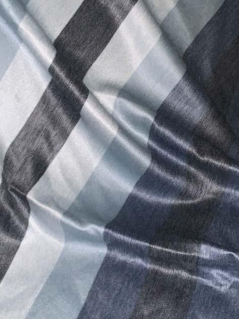Runde Silvery Blue and Grey Stripes Alpaca Throw
