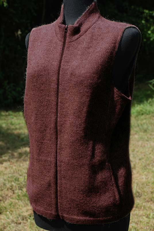 Women's alpaca vest heathered dark brown