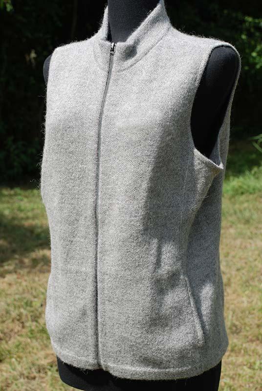 Women's alpaca vest silver grey