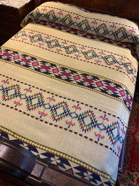 Alpaca Blanket Teal Fuchsia Purple Geometric Back