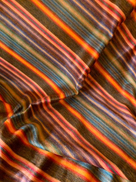 Alpaca Throw Saturated Oranges and Blues