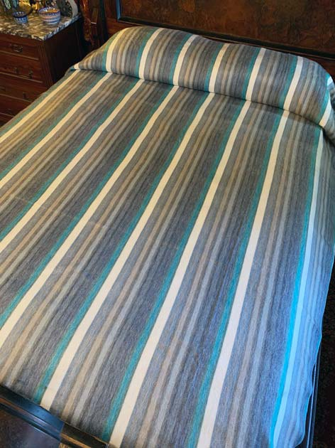 Teals Greys Cream Stripes alpaca blanket