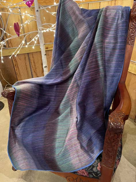 Blues and Greens Striped alpaca throw