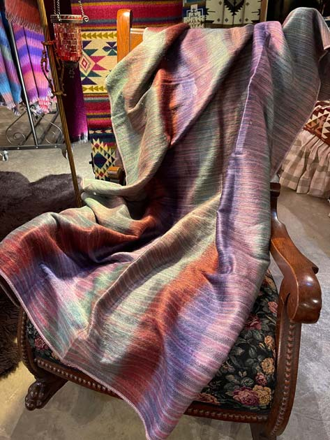 Purples Greens and Brown Striped alpaca throw