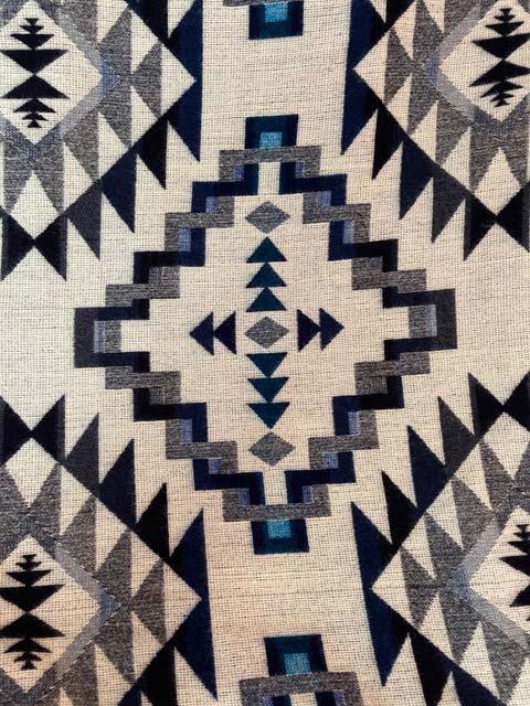 Angels Favorite Blue Geometric alpaca blanket - Back