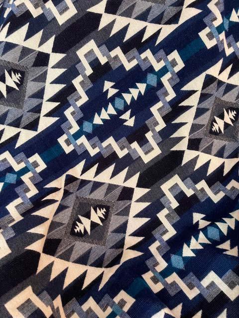 Angels Favorite Blue Geometric alpaca blanket - Front