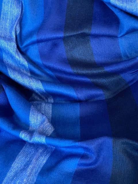 Beautiful Blue Stripes alpaca blanket