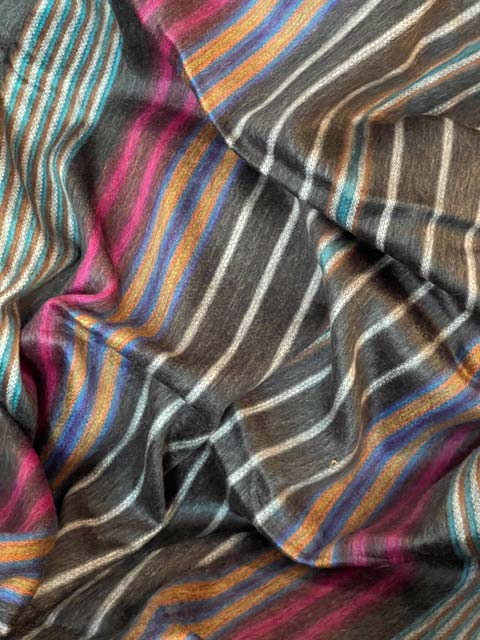 Charcoal & Saturated Gem Colored Striped alpaca blanket