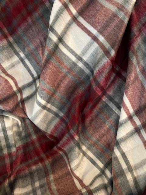 Red and Charcoal Plaid alpaca throw