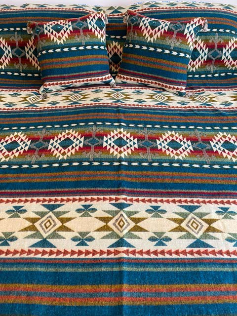 American West alpaca throw with matching pillows