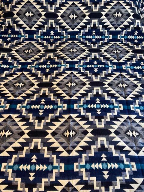 Angel's Favorite Blues Geometric alpaca blanket