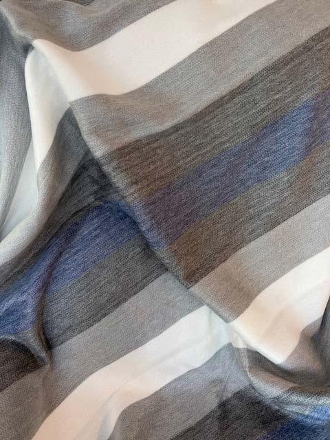Blues Silvers Cream Wide Striped alpaca throw