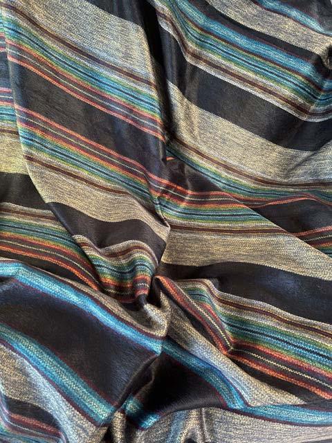 Dark blues, silver and red striped alpaca throw