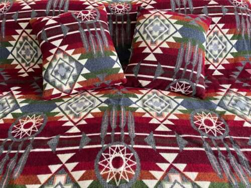 Green and Red alpaca throw with matching pillows