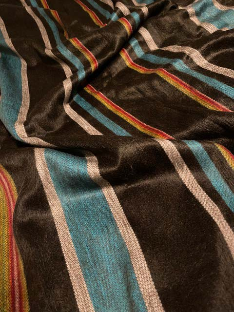Angel's Favorite Super Saturated Charcoal, Teals, Ruby and Rose alpaca throw