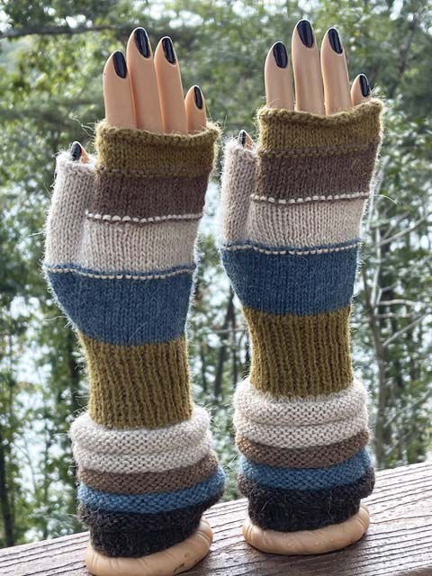 Blues, Browns and Tans fingerless alpaca gloves