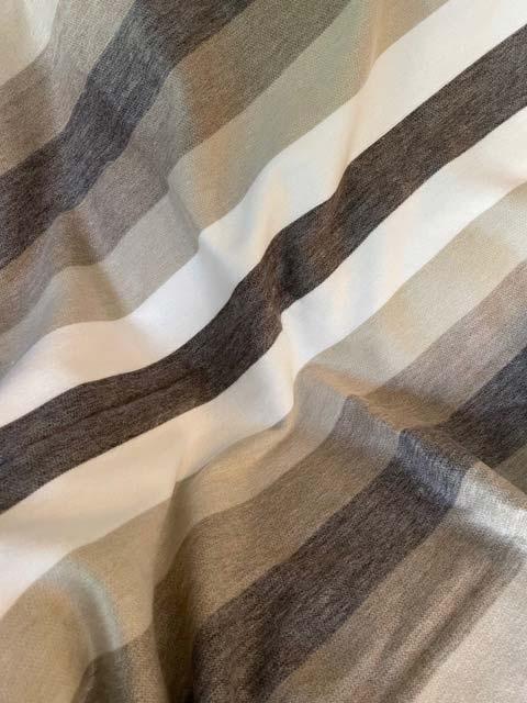 Brown Tan & Cream Wide-Stripes alpaca throw