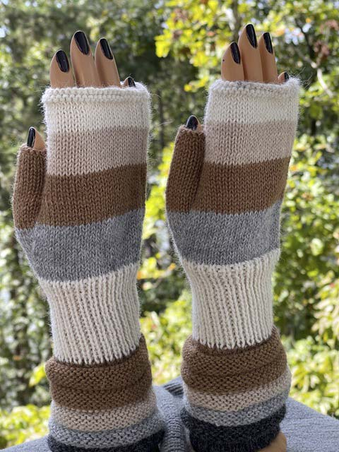 Greys and Tans fingerless alpaca gloves