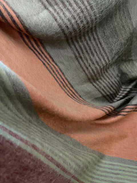 Ocean Glass Green, Salmon, Auburn & Grey Alpaca Blanket