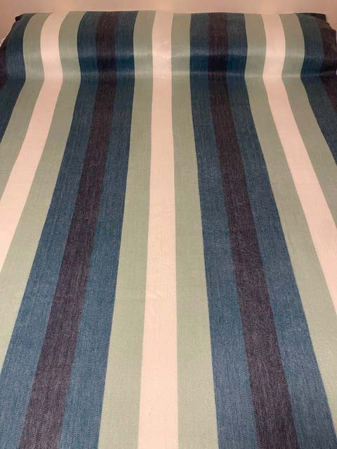 Sea Green, Teals, Blues and Creams Wide Stripes alpaca blanket