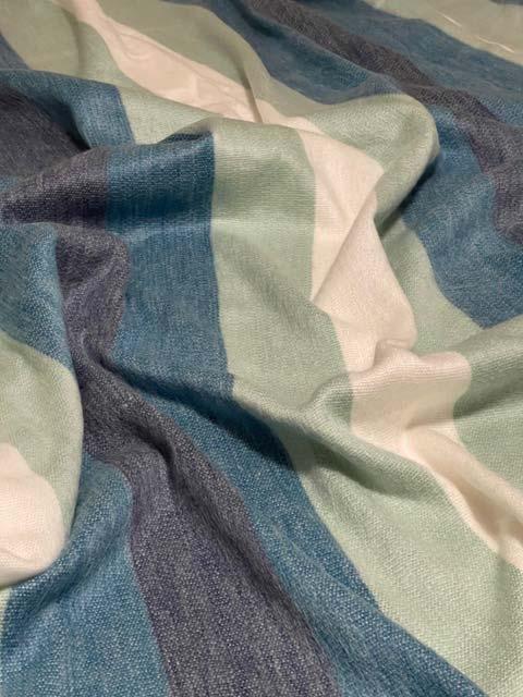Sea Green, Teals, Blues and Creams Wide Stripes alpaca throw