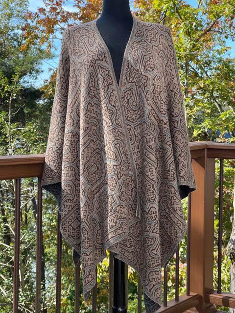 Womens Reversible Alpaca Cape-Tans, Greys & Blues